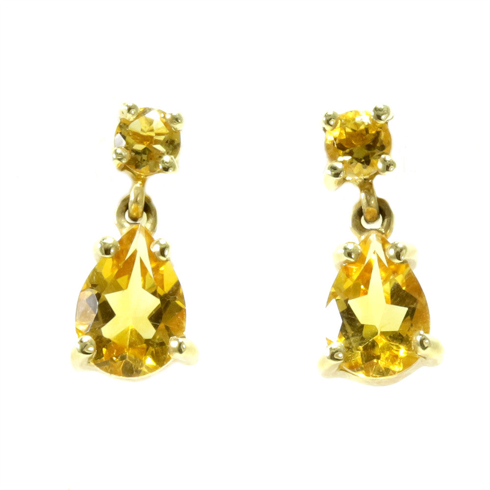 14k yellow gold pear shape round citrine earrings