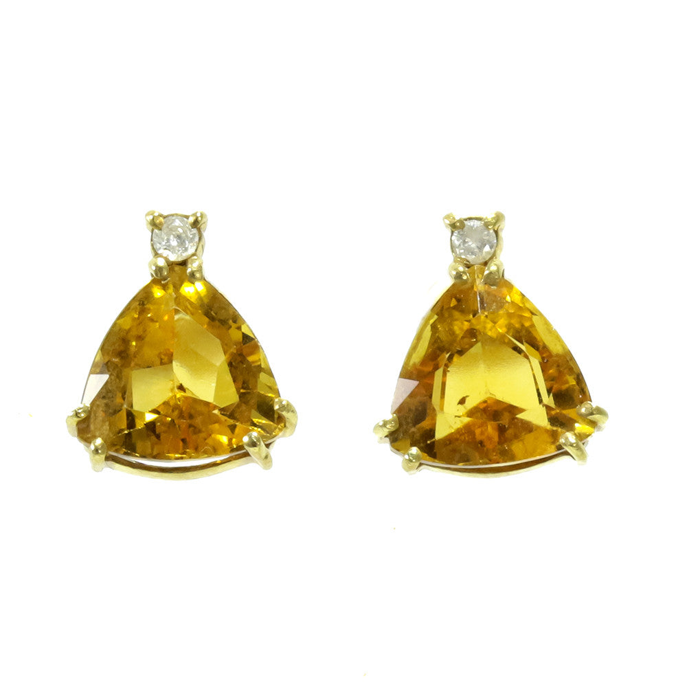 14k yellow gold trillion cut citrine and diamond earrings