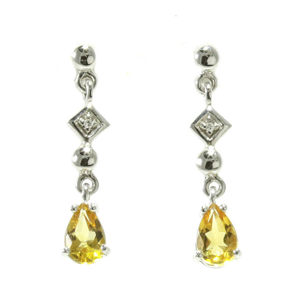 14k white gold pear shape citrine diamond dangling earrings