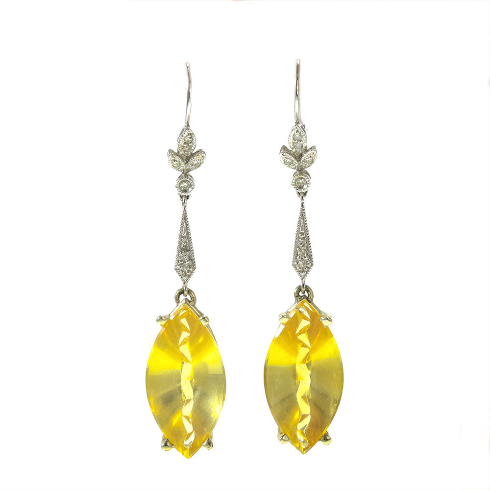 14k white gold fancy cut marquise citrine and diamond earrings