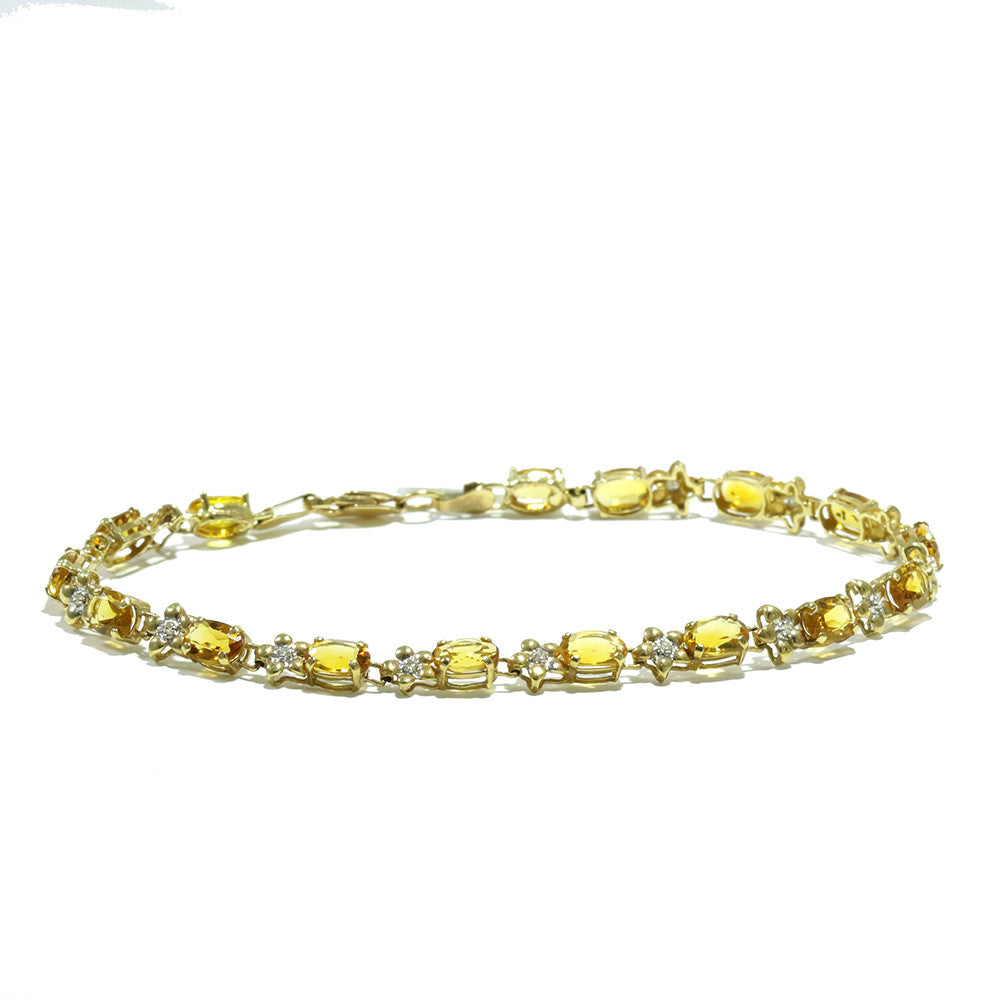 14k yellow gold oval citrine and diamond tennis bracelet