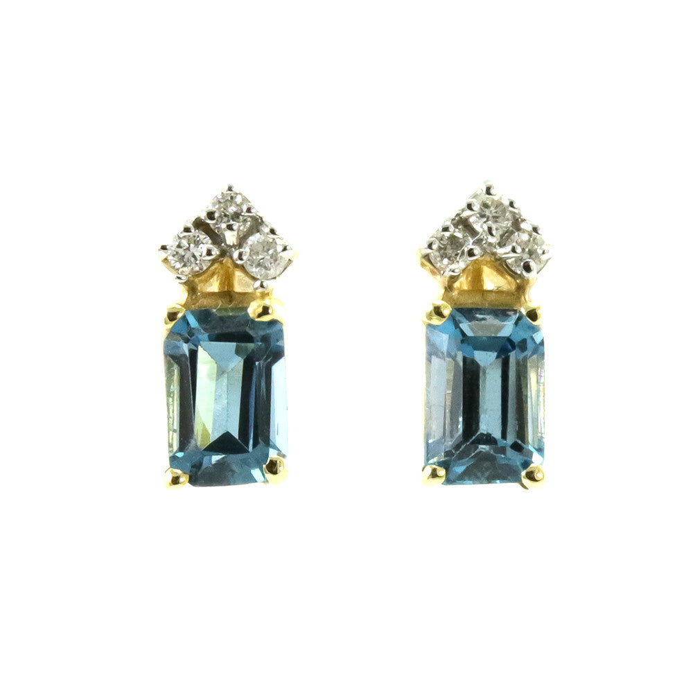 14k yellow gold emerald cut London blue topaz with 6 round diamonds earrings