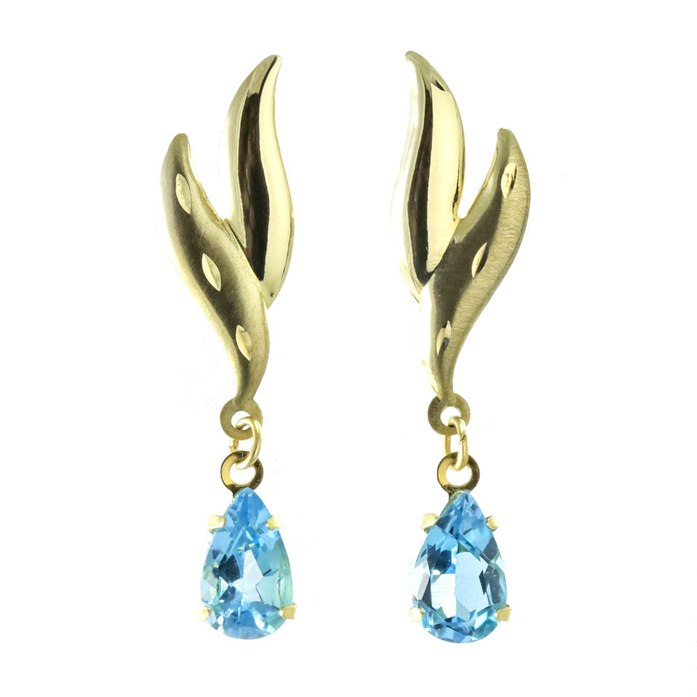 14k yellow gold pear shape blue topaz earrings