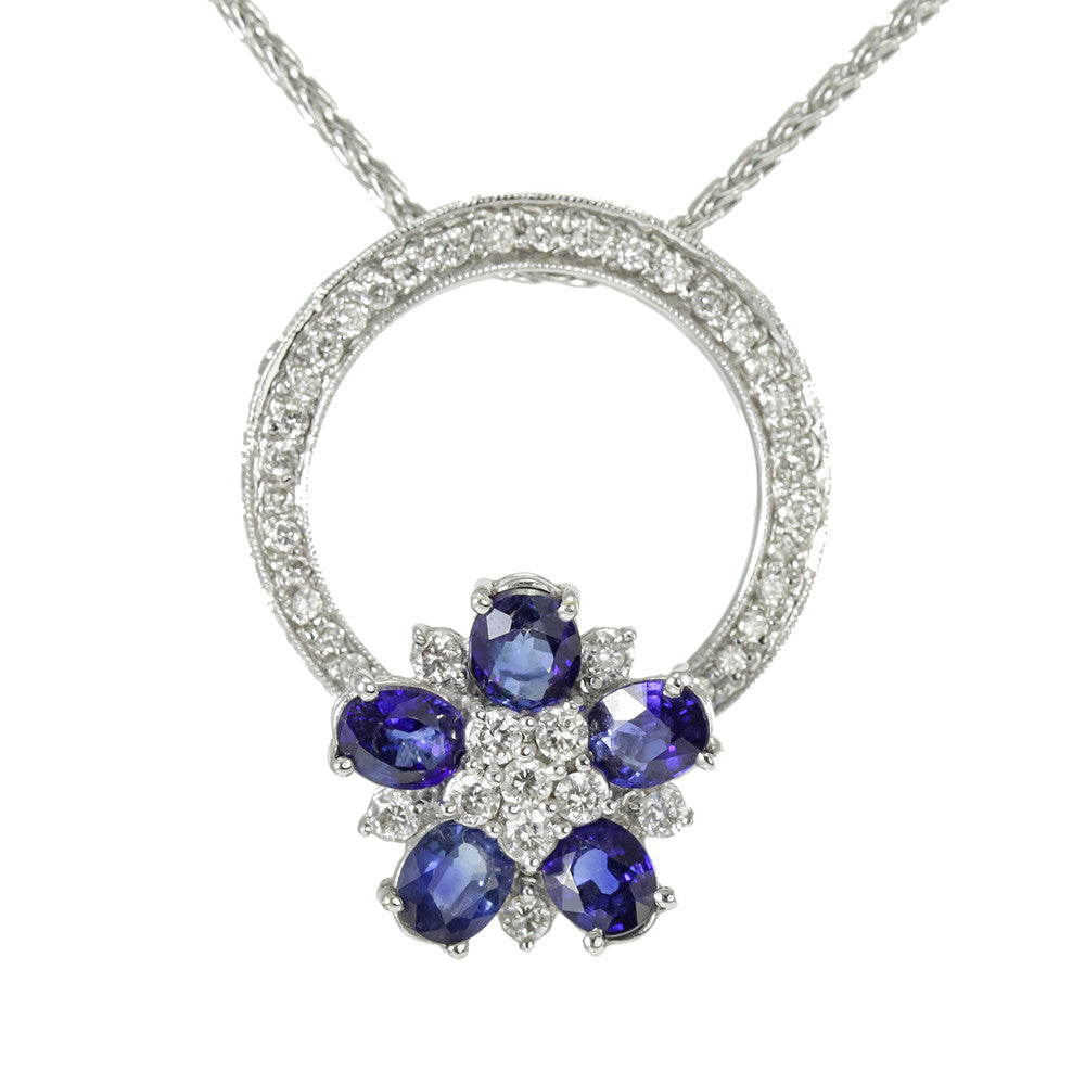 18k white gold sapphire and diamond necklaces/ring