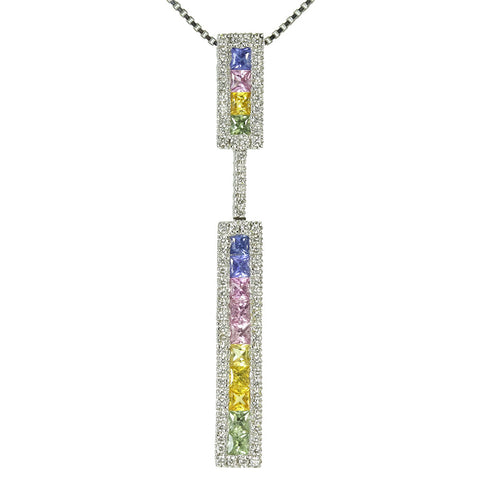 14k white gold multicolored princess cut sapphire and diamond pendant