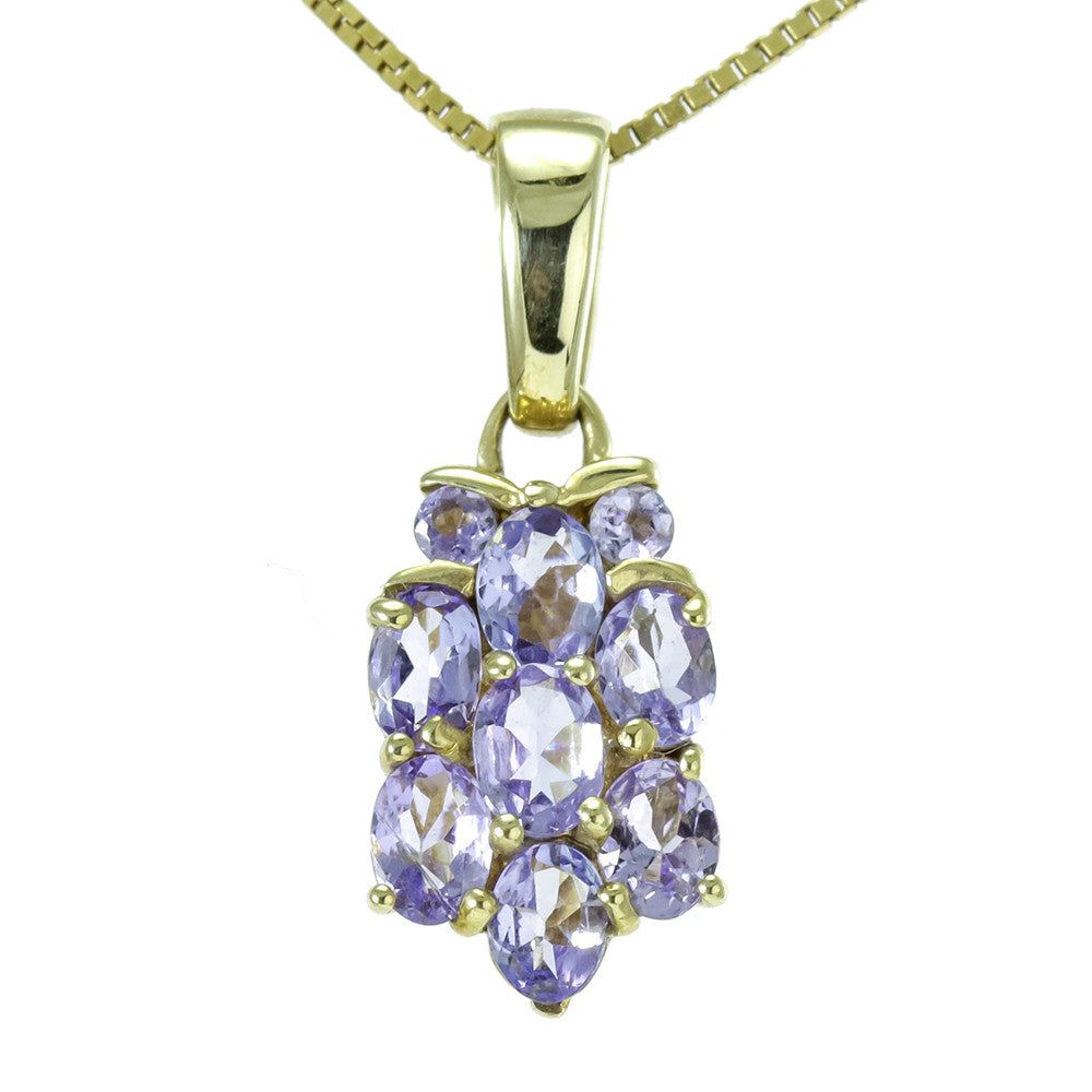14k yellow gold oval tanzanite necklaces