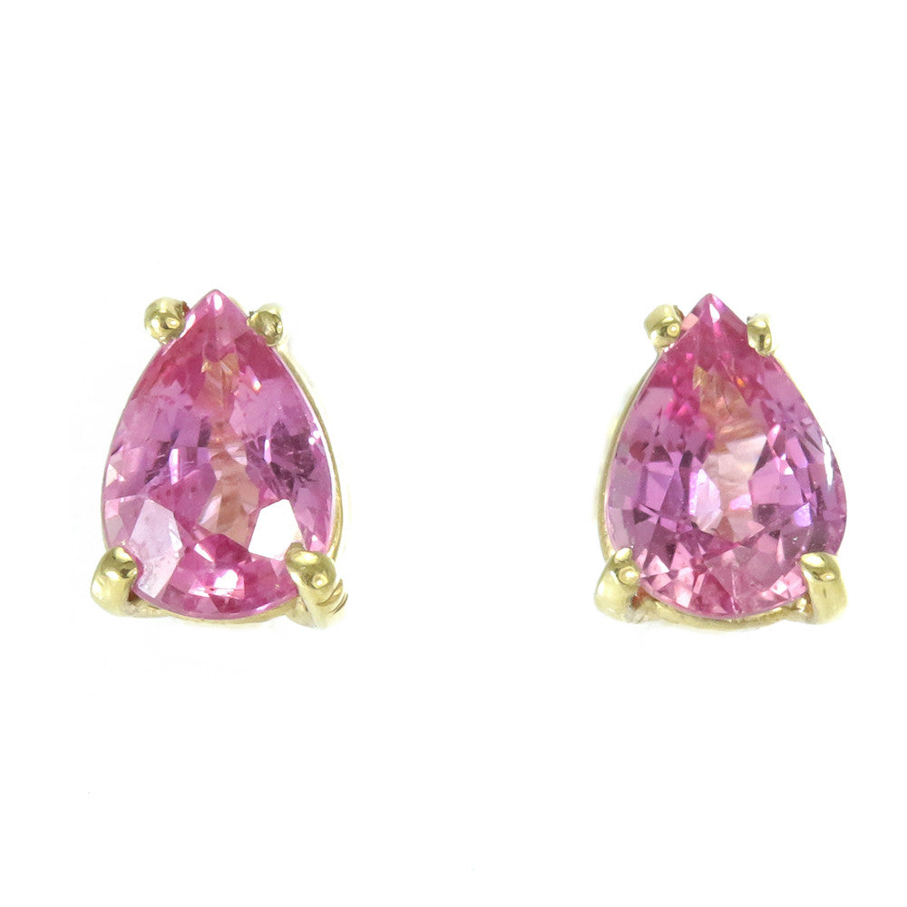 14k yellow gold pear shape pink sapphire stud earrings