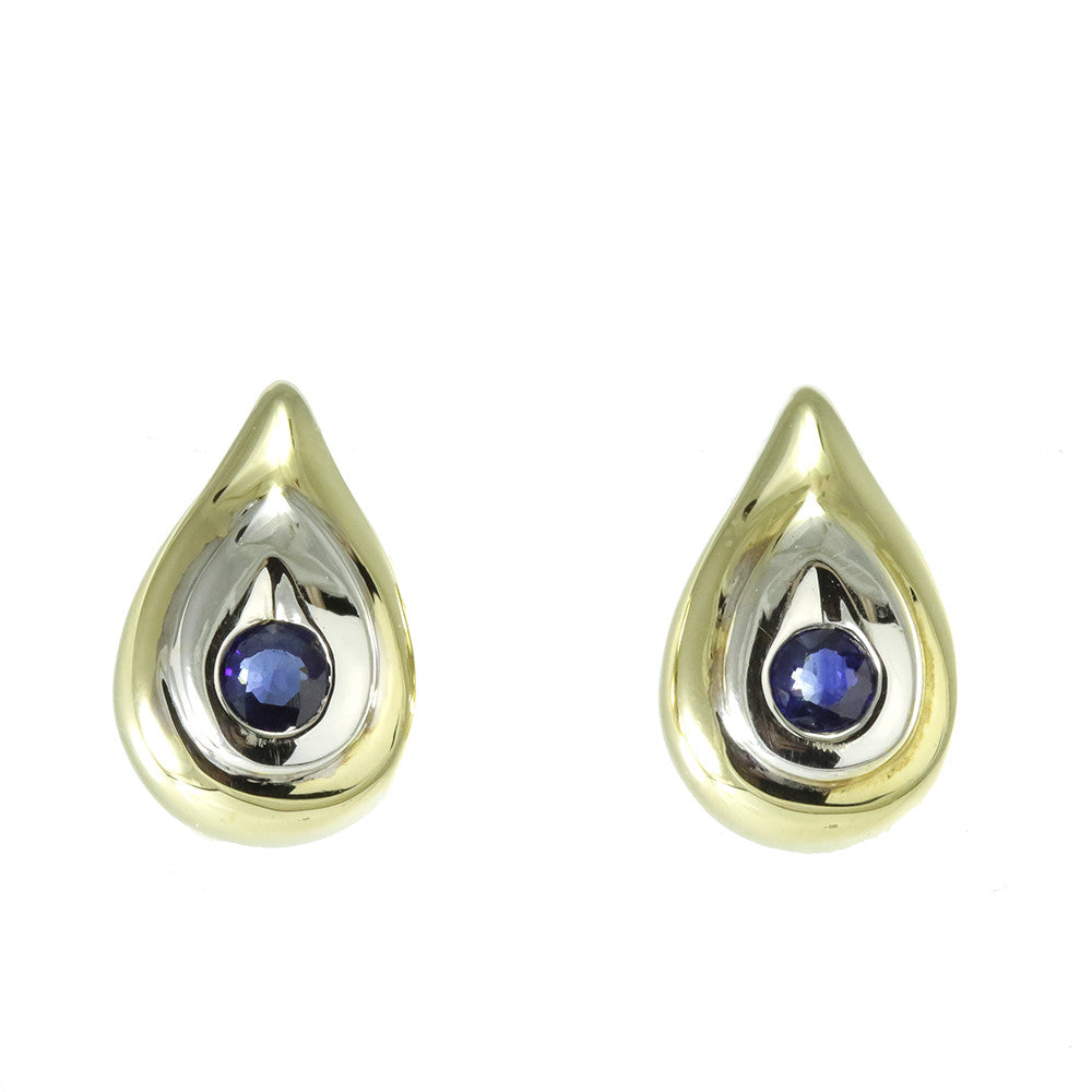 14k yellow gold two-tone round sapphire earrings