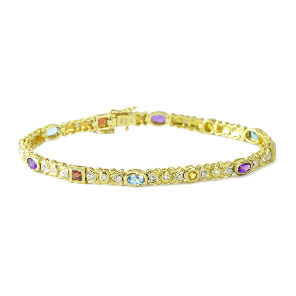 14K yellow gold multicolor gemstones and diamonds tennis bracelets
