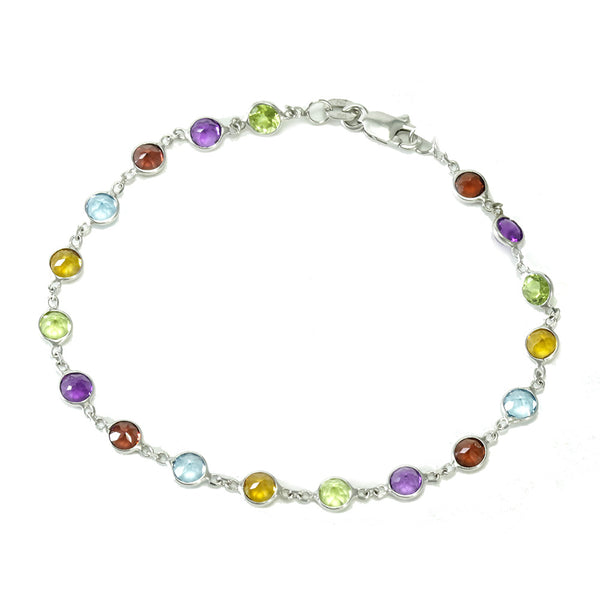 14k white gold multi color tennis bracelet