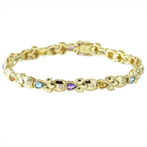 14k yellow gold multi color and diamond tennis bracelet