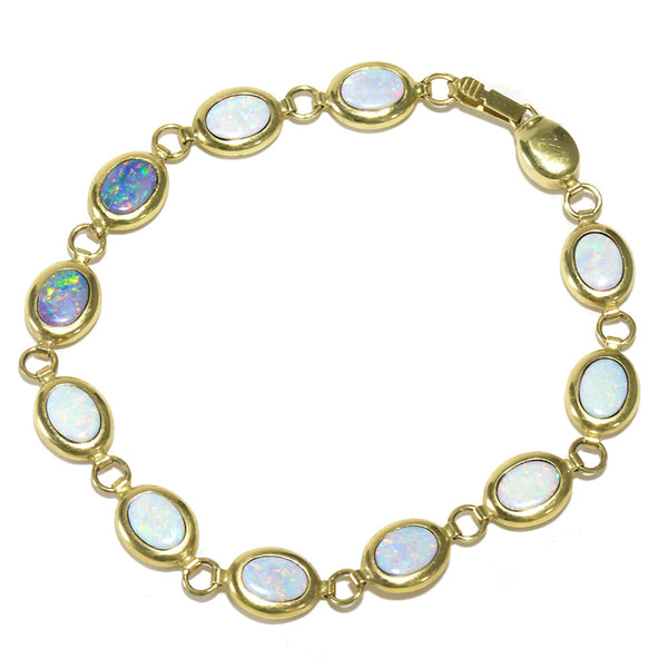 14k yellow  gold multi color tennis bracelet