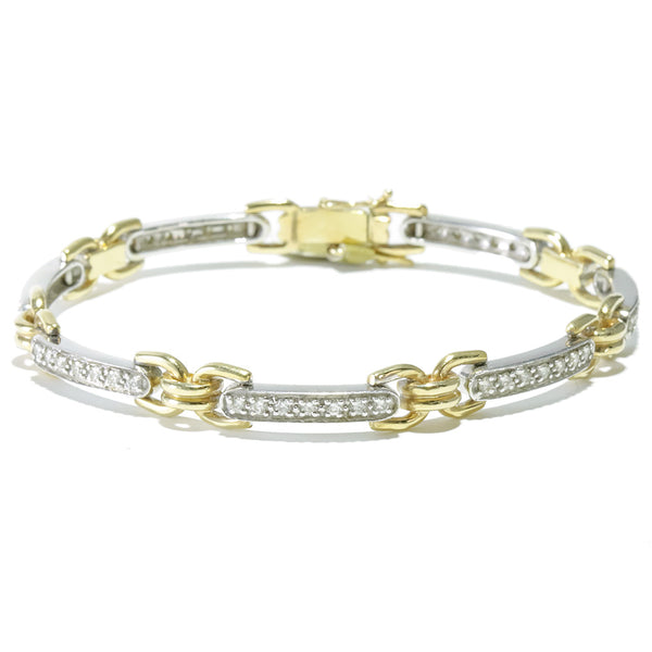 18k two tone diamond tennis bracelet