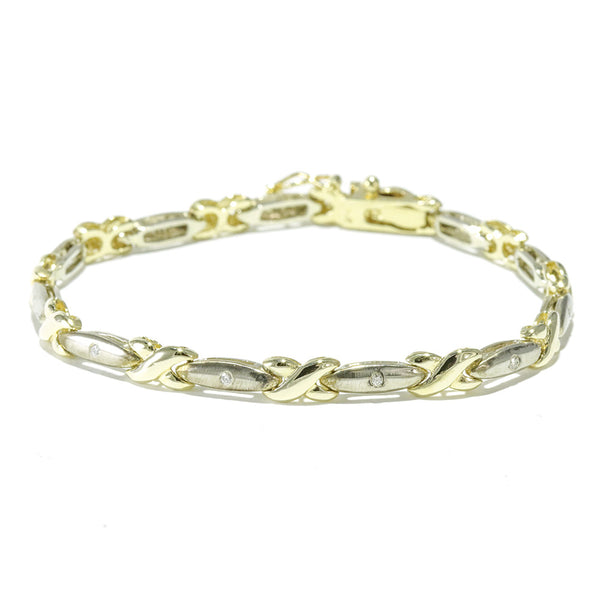 14k two tone diamond tennis bracelet