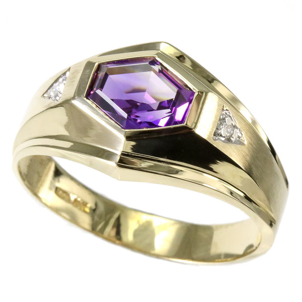 14 yellow gold amethyst and diamond men's ring