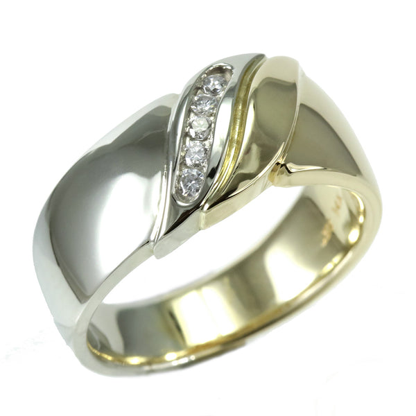 14k two tone and diamond men's ring