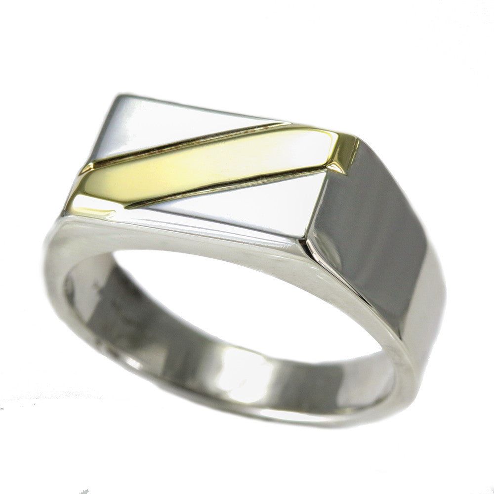 Sterling silver and 14k yellow gold men signet ring