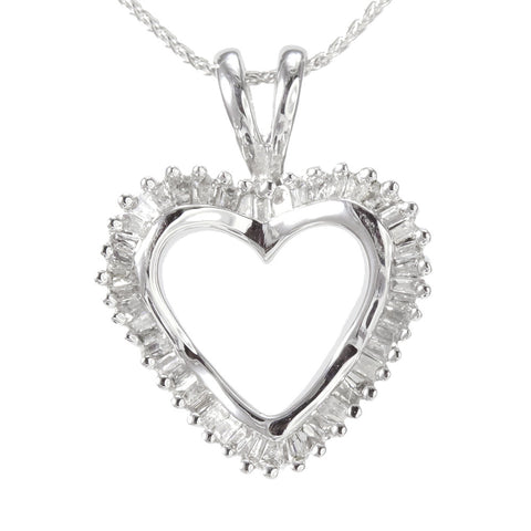14k white gold heart shape baguette diamond pendant