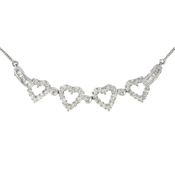 14k white gold 3 in 1 heart and diamond bar  necklace