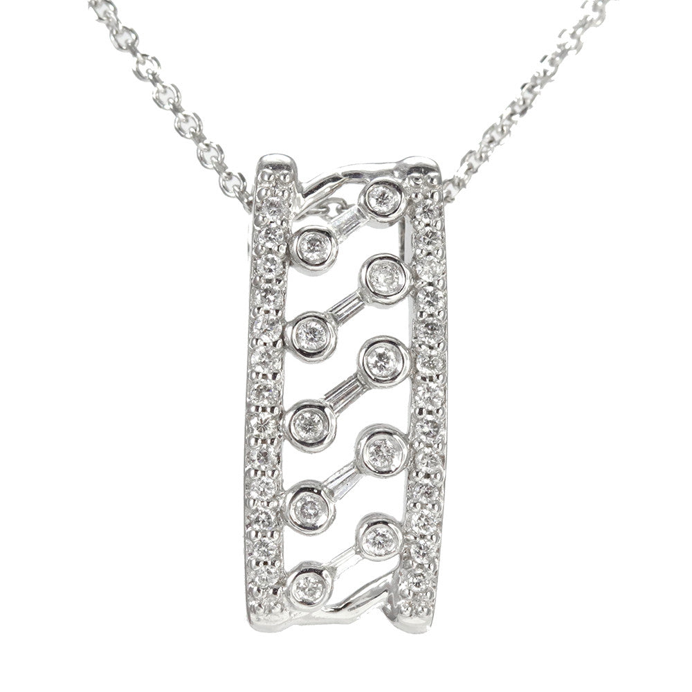 14k white gold bar style diamond pendant