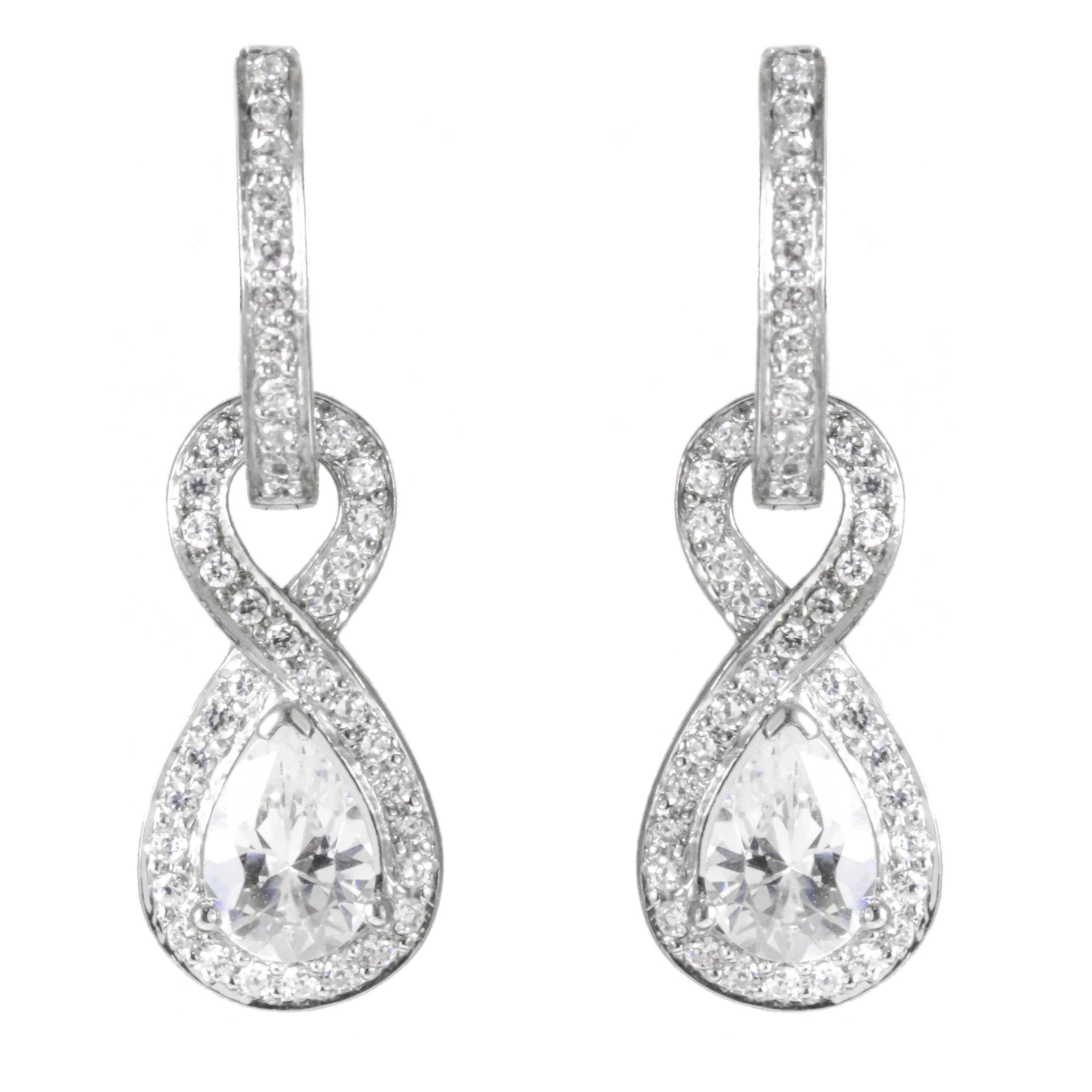 14k white gold pear shape diamond earrings