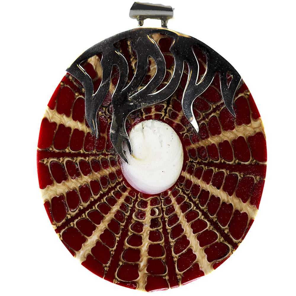 Round Red and Beige Shell Pendant with Sterling Silver Fire Detailing