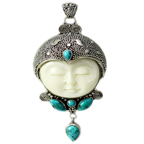 Carved Bone Face Pendant with Five Turquoise Stones