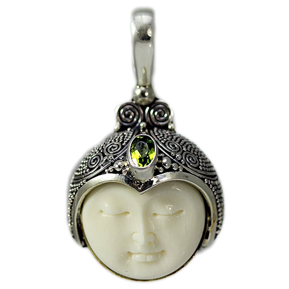 Carved Bone Face Pendant with One Peridot Stone
