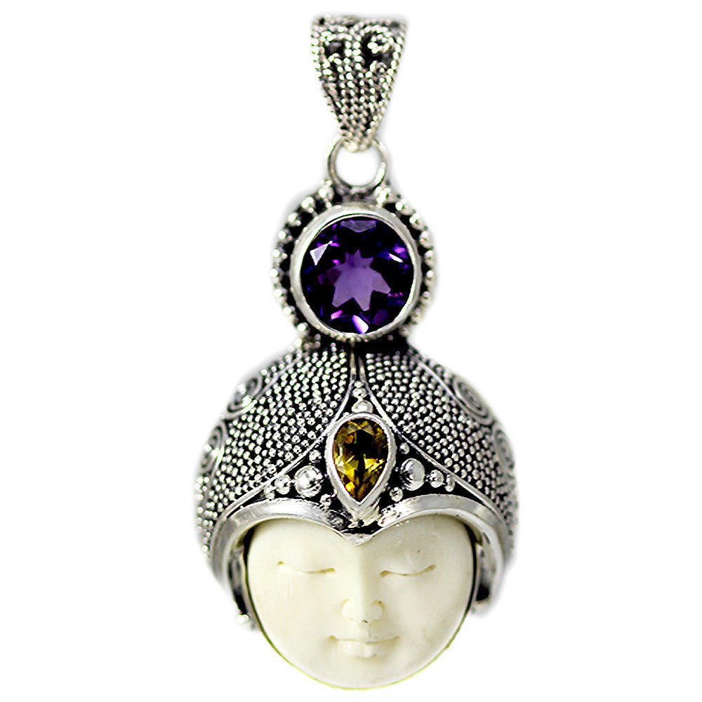 Carved Bone Face Pendant with Amethyst and Citrine Stones