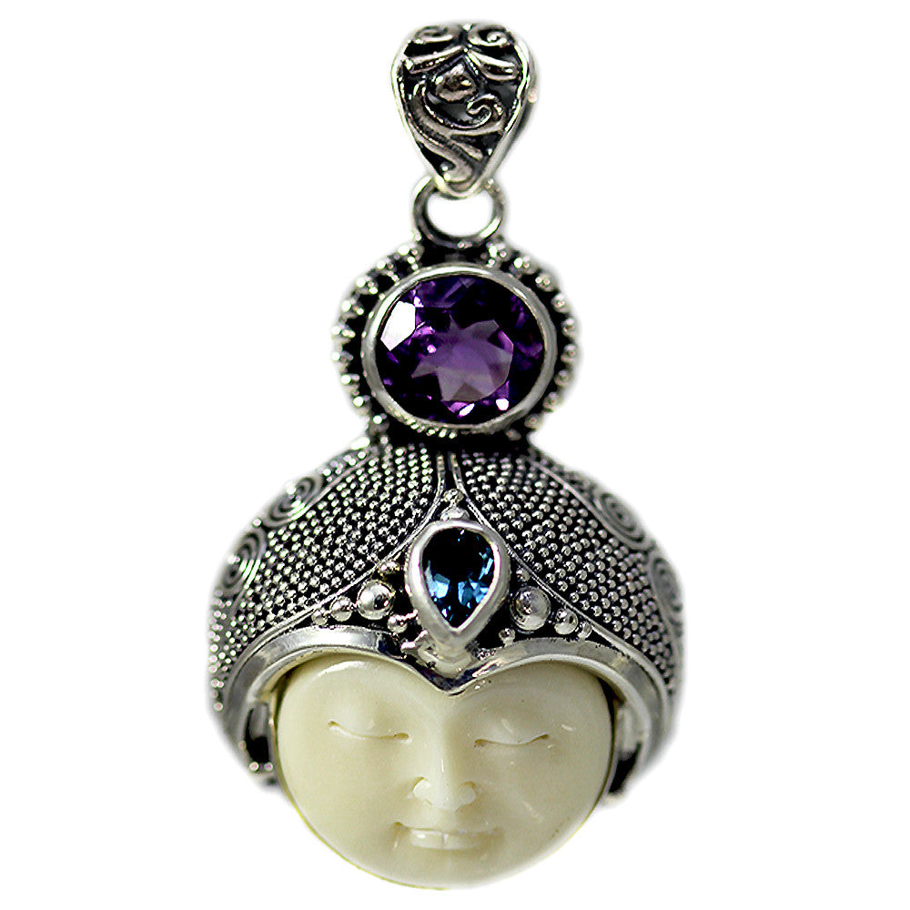 Carved Bone Face Pendant with Amethyst and Blue Topaz Stones