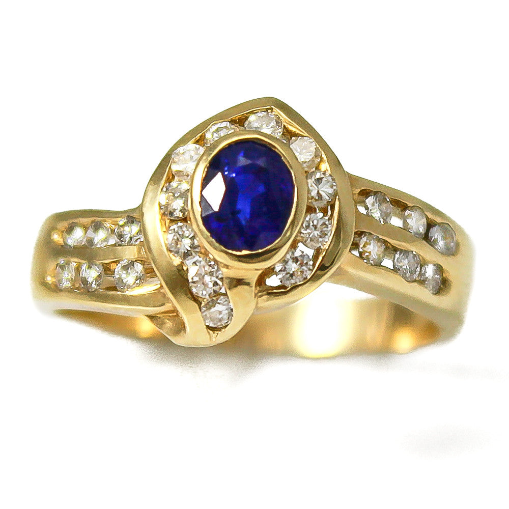 14K Yellow Gold Wrapped Sapphire and Diamond Ring