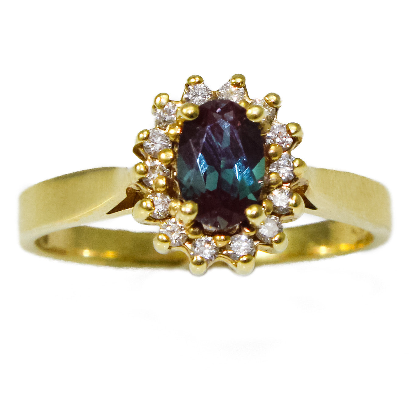 14K Yellow Gold Chatham Alexandrite and Diamond Ring