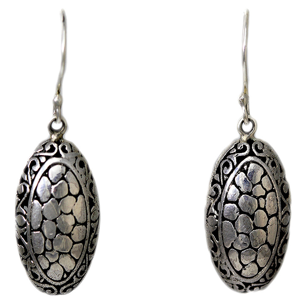 Sterling Silver Pebbled Earrings