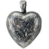 Heart Shaped Locket Sterling Silver Engraved Pendant