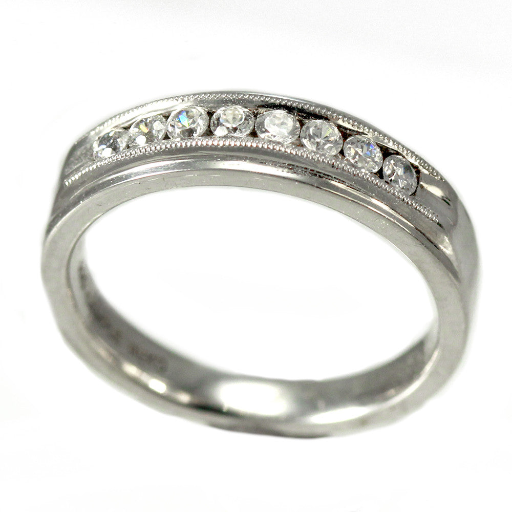 Sterling Silver Channel Set Wedding Band With Cubic Zirconias