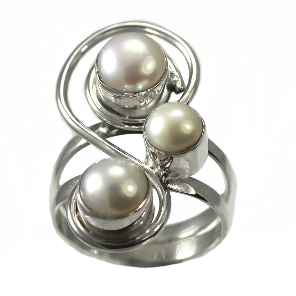 Sterling Silver Spiral Freshwater Pearl Ring