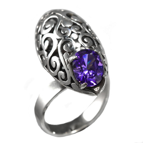 Sterling Silver Oval Filigree Ring With Amethyst