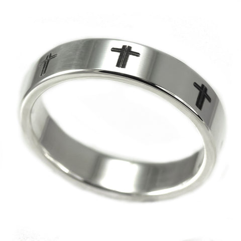 Sterling Silver Band With Cross Design