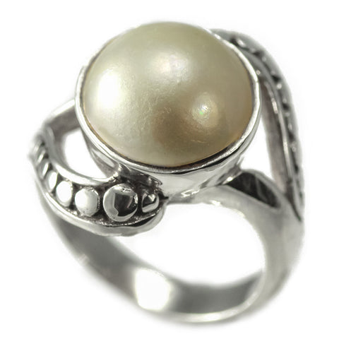 Sterling Silver Pebbled Design Mabe Pearl Ring