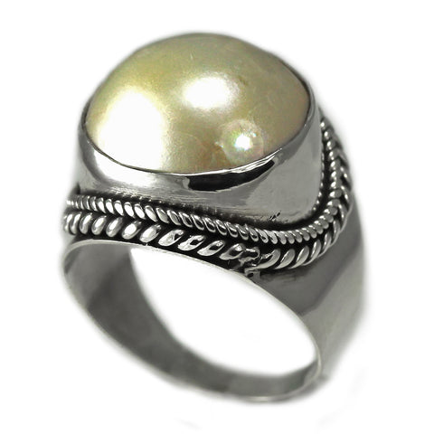 Sterling Silver Round Mabe Pearl Ring With Rope Design