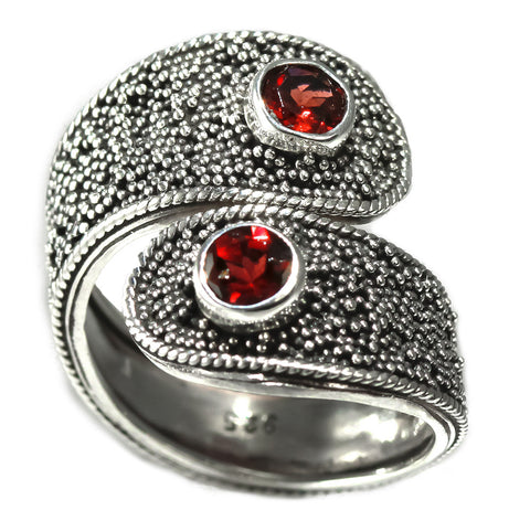 Sterling Silver Handmade Beaded Design Garnet Ring