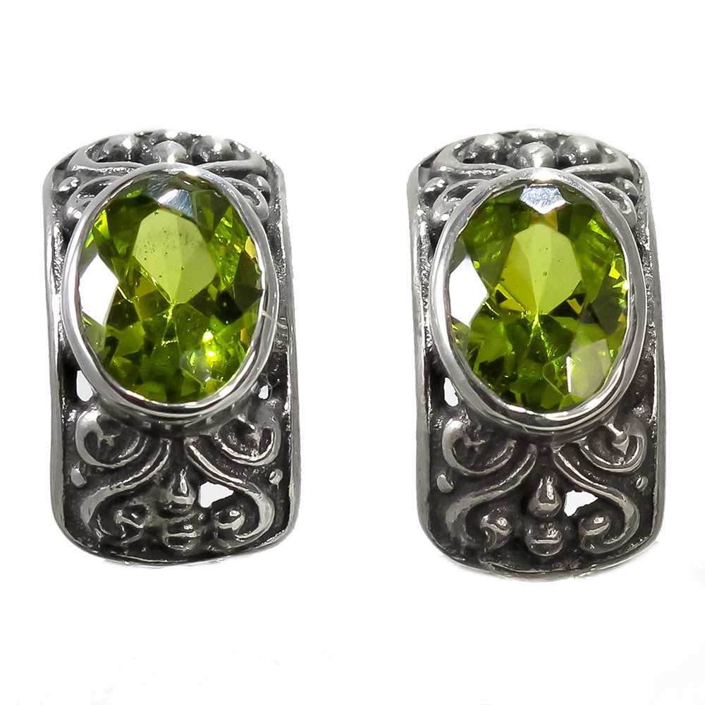 Sterling Silver Oval Peridot Omega Backs Earrings