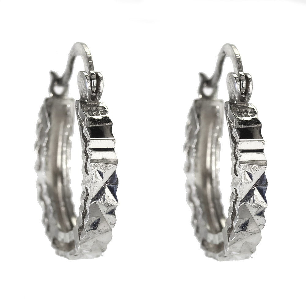 Sterling Silver Hoops With Diamond Cut Design