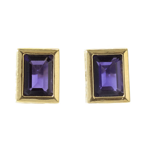 14 k yellow gold emerald cut bezel set iolite earrings