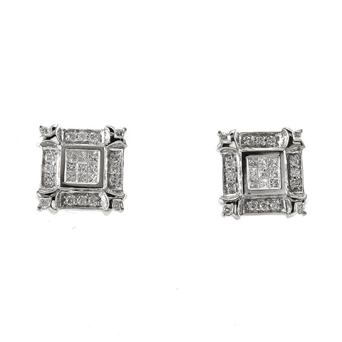 14 k white gold princess cut and round brilliant cut diamond earrings 0.70 ct . total weight