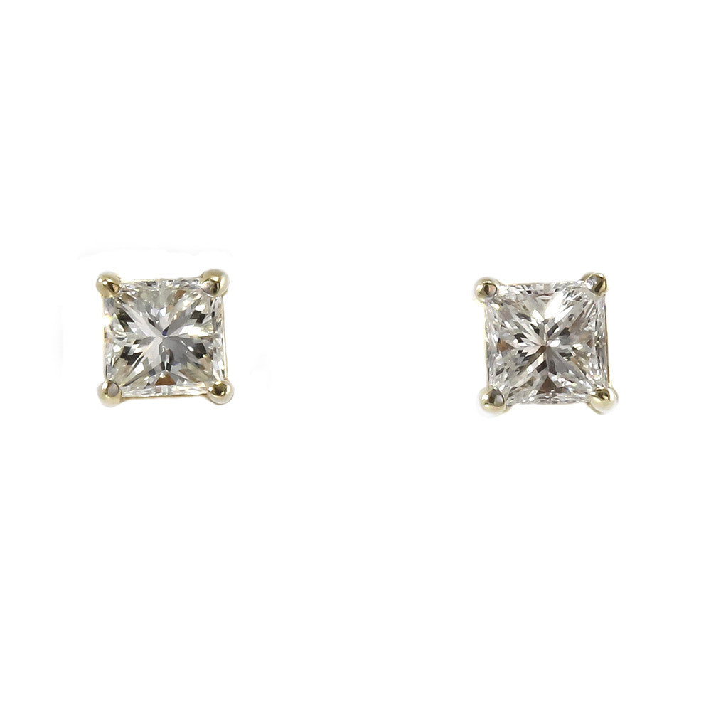 diamond stud yg gold in princess nl cut earring studs yellow carat jewelry