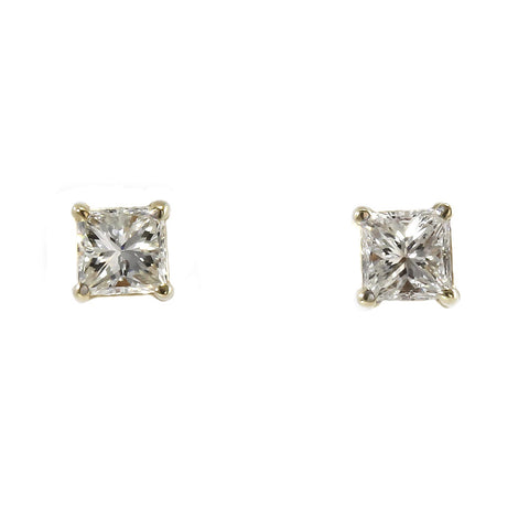 14 k yellow gold princess cut diamond stud earrings