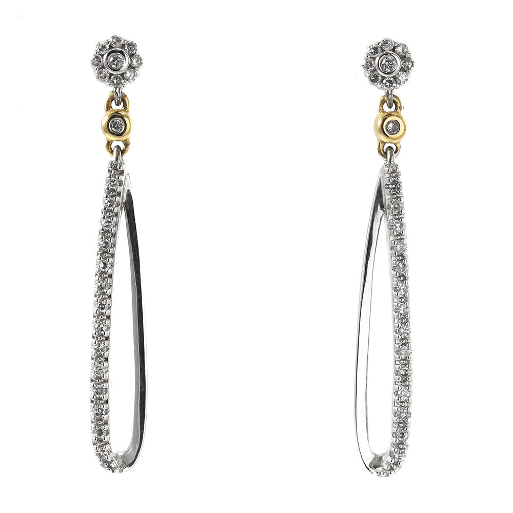 14k gold two tone round diamond cut earrings