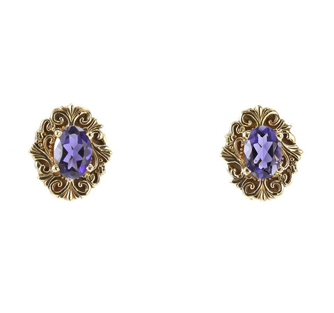 14 k yellow gold oval iolite earrings
