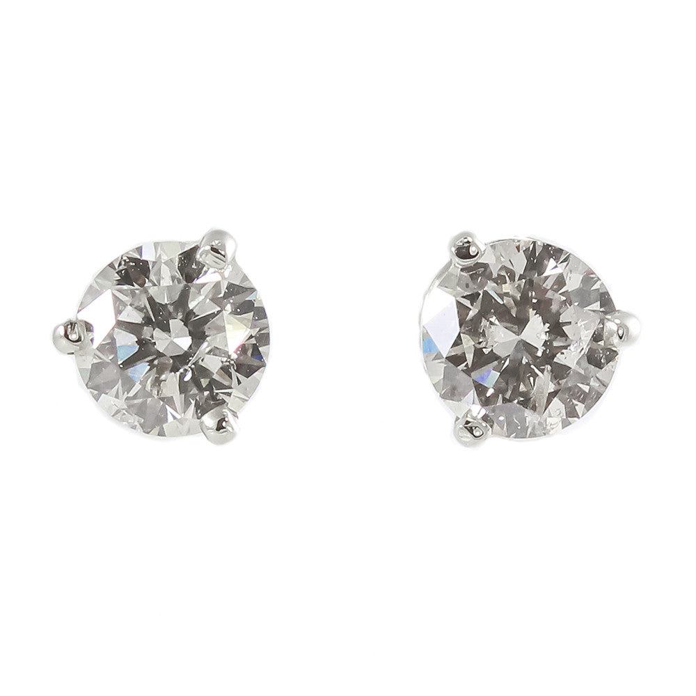 14k white gold round brilliant cut diamond studs earrings